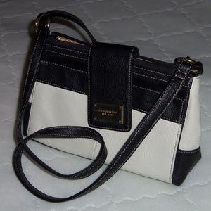 Tignanello purse leather cross body black white